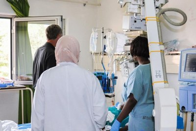 Medical staff at an hospital in Kigali.
