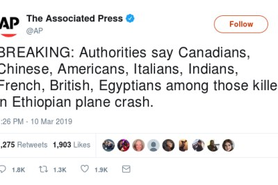 The Associated Press tweet about the Ethiopian Airlines plane crash.