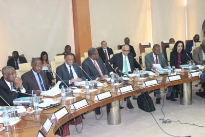 Réunion du Bureau de l'Association des Banques Centrales Africaines (ABCA) au Siège de la BCEAO à Dakar, le 13 mars 2019.