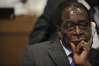 Robert Mugabe attends the 12th African Union Summit  in Addis Ababa, Ethiopia on February 2, 2009