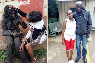 BEFORE AND AFTER: Former street urchin Patrick Hinga who was rescued from street life by his childhood friend Wanja Mwaura.
