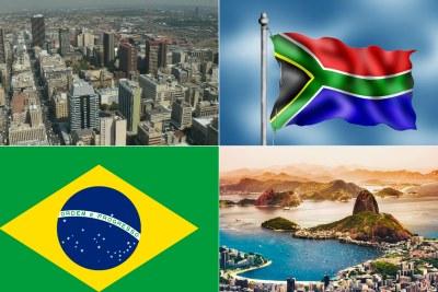 Johannesburg, South Africa, top and Rio de Janeiro, Brazil, bottom