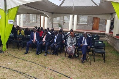 Some of former President Daniel arap Moi's family members wait for the start of Jonathan Moi's burial service at Kabarak University on April 27, 2019.