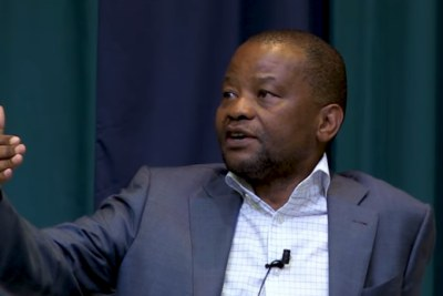 Video screenshot of on again, off again Old Mutual CEO Peter Moyo