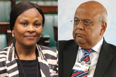 Left: Public Protector Busisiwe Mkhwebane. Right: Minister of Public Enterprises Pravin Gordhan.