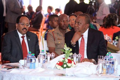 Presidents Mohamed Abdullahi Mohamed Farmaajo of Somalia and Kenya's Uhuru Kenyatta