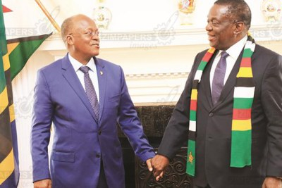 President Emmerson Mnangagwa and his Tanzanian counterpart, President John Magufuli, share a lighter moment before entering into a closed-door meeting at State House in Harare.