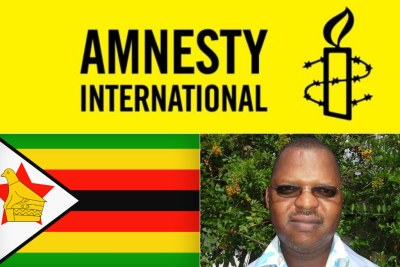 Top: Amnesty International logo. Bottom-left: Zimbabwean flag. Bottom-right: Former director of Amnesty International Zimbabwe, Cousin Zilala who is pursuing legal action against Amnesty International, demanding U.S.$3 million over alleged defamation.