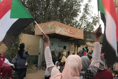 Protesters take to streets in the Sudanese capital, Khartoum, on April 11, 2019.