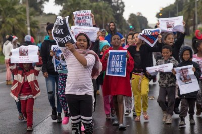 About 100 residents of Hanover Park blocked streets protesting against gang violence in their community on July 3, 2019.