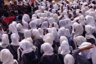 Secondary school girls demonstrate in Shajarat El Hamdab in River Nile state against the El Obeid massacre.