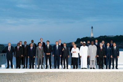 "The G7 Leadership and Extended G7 members as they pose for the ""family photo"" at the G7 Extended Partners Program on August 25, 2019, at the Hotel du Palais Biarritz, site of the G7 Summit in Biarritz, France."