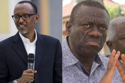From left - Rwandan President, Paul Kagame and Uganda opposition leader, Kizza Besigye.