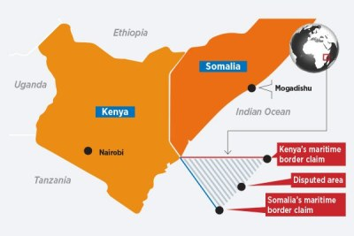 The area in the Kenya-Somalia maritime border dispute forms a triangle east of the Kenya coast.