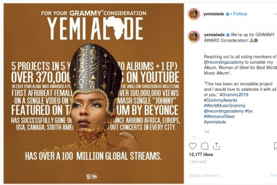 Yemi Alade has her eyes set on a Grammy.