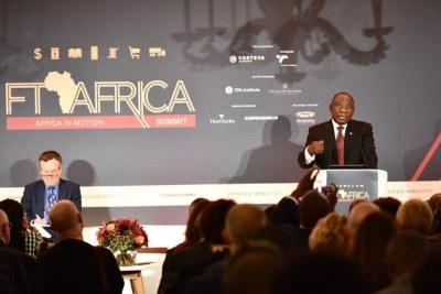 President Cyril Ramaphosa speaking at the FT Africa Summit in London, October 2019.