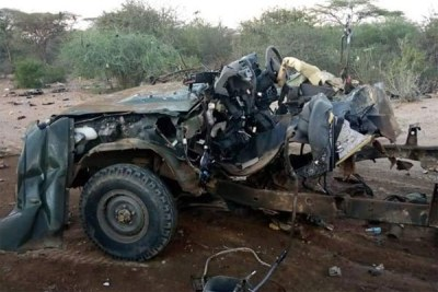 The extensively damaged Toyota Land Cruiser.