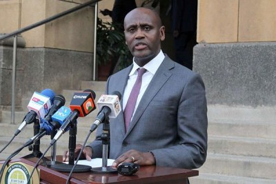 Judicial Service Commission member Macharia Njeru holds a press conference at the Supreme Court on July 22, 2019.