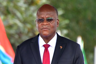 Tanzanian President John Magufuli outside State House in Dar es Salaam on August 15, 2019, during a state visit by South African President Cyril Ramaphosa.