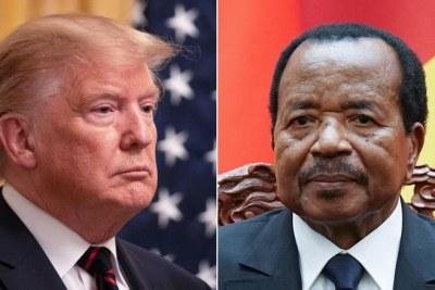 Le président des États-Unis d'Amérique Donald Trump (G) et le président  du Cameroun Paul Biya.