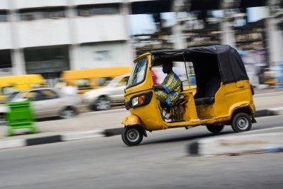 A commercial tricycle operator operating along Tafawa Balewa Square in Lagos Nigeria (file photo).