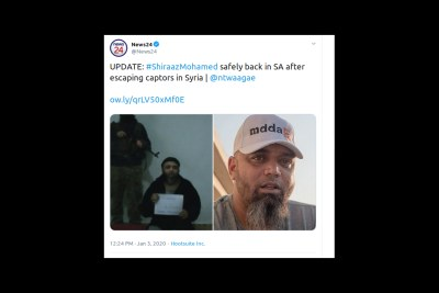 Tweet confirming the Shiraaz Mohamed's return home to South Africa.