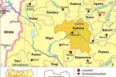 A map showing Kaduna State in Nigeria.