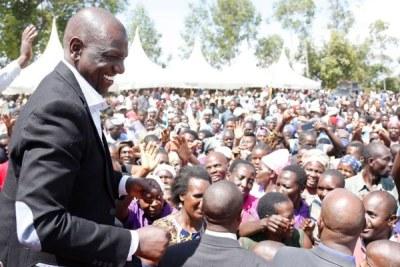 Deputy President William Ruto during an empowerment programme at Esibakala Primary School in Emuhaya in Vihiga County (file photo).