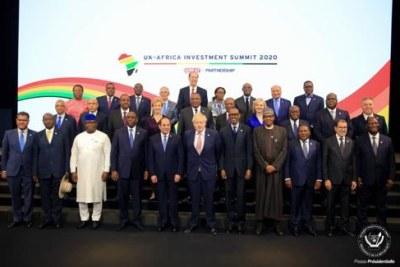 Chefs d'Etat et de gouvernement participant au Sommet Royaume-Uni – Afrique à Londres, 20/01/2020.