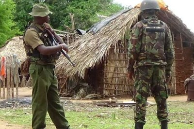 KDF soldiers on guard in Pandanguo Village in Lamu (file photo).