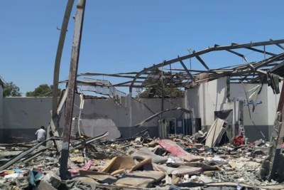The aftermath of the devastating airstrike on the Tajoura Detention Centre, in the suburbs of the Libyan capital, Tripoli, on 2 July, 2019.