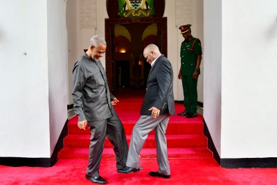 Veteran opposition politician Seif Shariff Hamad from Zanzibar and President John Magufuli greet each other with their feet amid fears of the spread of COVID-19.