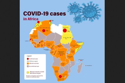 This map illustrates confirmed cases of COVID-19 in Africa on March 19, 2020. Cases in countries outside the WHO African Region are shown for context.