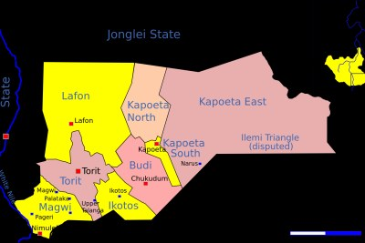 A map of the Eastern Equatoria region in South Sudan.