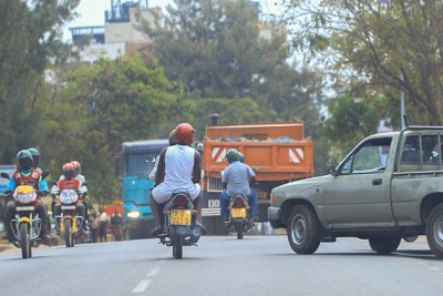 Taxi-moto operators on the road (file photo).