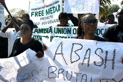 Journalists in Zambia protest against attacks on the media.