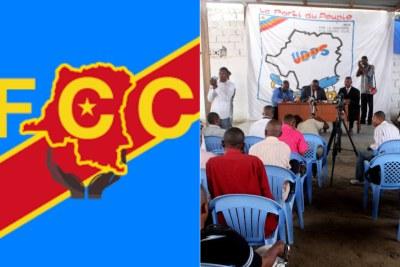 A gauche logo du FCC et à droite des membres de l'UDPS