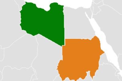 Carte montrant l'emplacement de la Libye (vert) et du Soudan (orange).