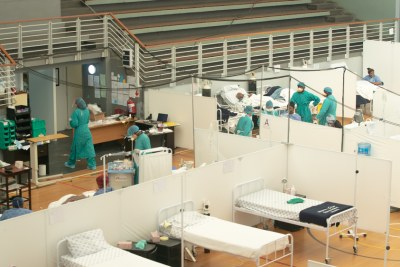 The now-closed 60-bed Khayelitsha Field Hospital developed by MSF to support the nearby Khayelitsha District Hospital to cope with the pressures of peak COVID-19 transmission in the Western Cape, South Africa (file photo).