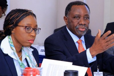 Vera Songwe, executive secretary of the UN Economic Commission for Africa and K.Y. Amoako, founder of the African Center for Economic Transformation and a former  UNECA executive secretary.