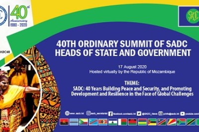 The SADC's Ordinary Summit of Heads of State and Government is to be held on August 17, 2020.
