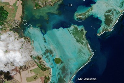 In this image, captured on 11 August by the Copernicus Sentinel-2 mission, the MV Wakashio, visible in the bottom of the image, is stranded close to Pointe d'Esny, an important wetland area. The oil slick can be seen as a thin, black line surrounded by the bright turquoise colours of the Indian Ocean. Oil is visible near the boat, as well as other locations around the lagoon.