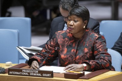 Fatou Bensouda, Chief Prosecutor of the International Criminal Court, briefs the United Nations Security Council meeting on Sudan and South Sudan, 18 December 2019.