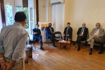Plusieurs diplomates européens participaient à une réunion au siège de l'organisation «Initiative égyptienne pour les droits de la personne» (Egyptian Initiative for Personal Rights, EIPR) au Caire, le 3 novembre 2020.