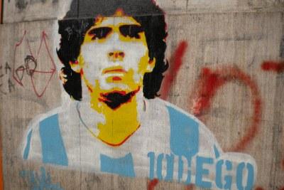 Graffiti  de Diego Maradona à La Boca, Buenos Aires.