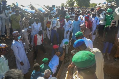 Victims of Zabarmari rice farming attack being buried on Sunday.