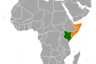 A map showing the location of Kenya (green) and Somalia (orange) (file photo).