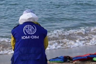 International Organisation for Migration staff in Libya (file).