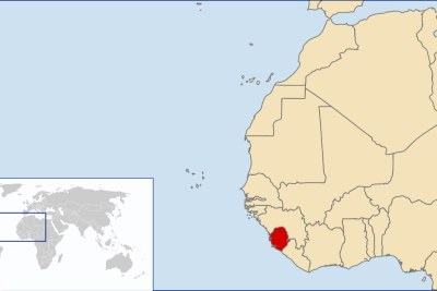 A map showing the location of Sierra Leone.