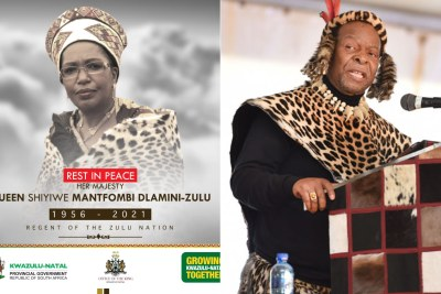 The late Queen Shiyiwe Mantfombi Dlamini Zulu, left, and King Goodwill Zwelithini.